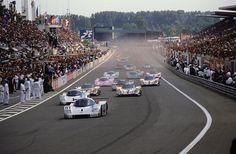 Le Mans, 1989, when Aston Martin, Jaguar, Mazda, Mercedes-Benz, Nissan, Porsche, and Toyota took on each other.