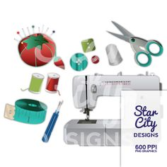 Sewing clipart Seamstress clipart thread by StarCityDesigns