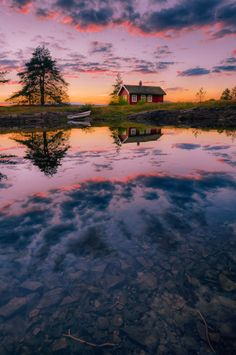 ~~The foreground | sunset at the red cabin on the lake, Norway | by Jørn Allan Pedersen~~