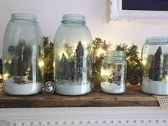 minature village in Ball jars with epson salt to represent snow