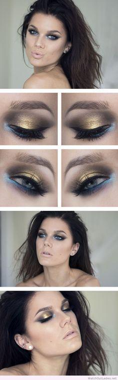 Linda Hallberg gold, black and blue eye makeup