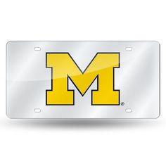 Michigan Wolverines Laser Cut License Plate - Silver Mirror