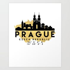 PRAGUE CZECH REPUBLIC SILHOUETTE SKYLINE MAP ART - The beautiful silhouette skyline of Prague and the great map of Czech Republic in gold, with the exact coordinates of Prague make up this amazing art piece. A great gift for anybody that has love for this city. graphic-design digital typography illustration vector prague czech-republic downtown silhouette skyline map coordinates souvenir gold deificus-art
