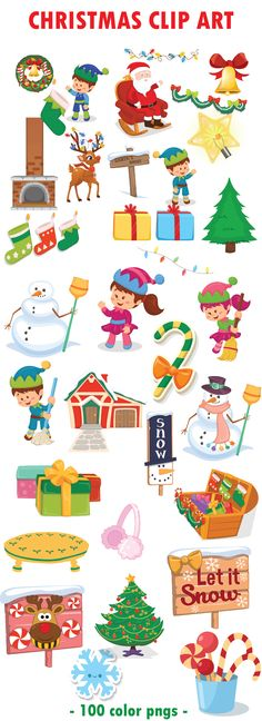 Christmas Clip Art Elements Mega Bundle | 100 Winter Clipart Elements | Teachers Pay Teachers tpt
