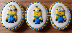 Minion Cookies by  Karen's Cookie Jar, Oakden, Australia. You'll find this Cake Appreciation Society Member in our Directory at www.cakeappreciationsociety.com Minion Cookies, Cookie Designs, No Bake Cookies, Cookie Jars, Minions, Monsters, Appreciation, Design Ideas, Sweets