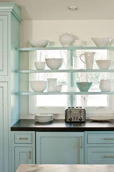 New Kitchen Window Over Sink Modern Open Shelving Ideas Shelf Over Window, Kitchen Window Shelves, Glass Shelves, Open Window, Bay Window, Family Kitchen, Home Decor Kitchen, New Kitchen, Kitchen Modern