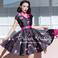 ENVÍO GRATIS Le Palais de La Vendimia 2016 de Primavera Dulce de Flamencos Rosados del Color del Golpe Negro de Cintura Alta Tutu Dress Vestidos Ropa de Mujer