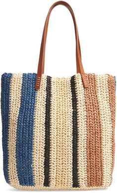 online shopping for Nordstrom Stripe North/South Raffia Tote from top store. See new offer for Nordstrom Stripe North/South Raffia ToteA roomy woven-raffia tote with easy over-the-shoulder handles serves as a breezy everyday essential-and it packs be Crochet Tote, Crochet Handbags, Crochet Purses, Bead Crochet, Free Crochet, Nordstrom, Tote Handbags, Purses And Handbags, Fashion Handbags