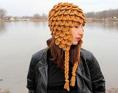 Terrific design! Crocodile stitch #crochet earflap hat pattern from @bonitapatterns