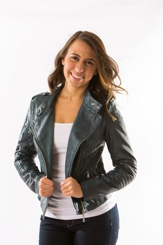 """Heart """"Leather"""" Jacket in Emerald by Black Swan – Two Elle's Boutique - a leather jacket is a classic wardrobe staple, but this one in emerald is swoon worthy!"""