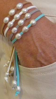 beachcomber natural faux suede bracelet by beachcombershop Suede Bracelet, Pearl Bracelet, Pearl Jewelry, Beaded Jewelry, Jewelery, Jewelry Bracelets, Handmade Jewelry, Bijoux Diy, Leather Jewelry