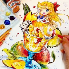 It is soo hot here that I could eat tons of ice cream *○*    Finally i finished my Sailor Venus Ice cream illu The original painting is the Tombola main Prize at my Dokomi Booth You...