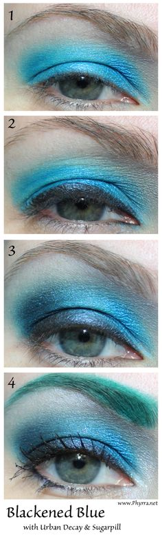 Sugarpill Blackened Blue Tutorial. Pin now, read later! #crueltyfree #sugarpill #urbandecay #bftecosmetics #eyeshadow #tutorial #teal #blue