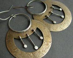 Large Mixed Metal Earrings, Egyptian Inspired Sterling Silver And Bronze Earrings, Exotic Jewelry, Big Tribal Earrings, Nefertiti Earrings
