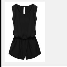 Black Woman's Romper It's cute and comfortable polyester romper. The front it a skort and the back is like shorts with pocks. It attaches in the back by a button which adds to it's flare. Other