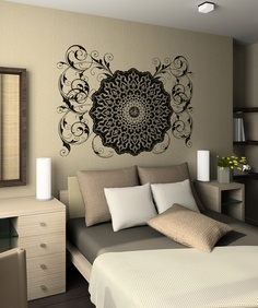 Vinyl Wall Decal Sticker Arabic Flower Circle Design OSAA347B. $69.95, via Etsy.