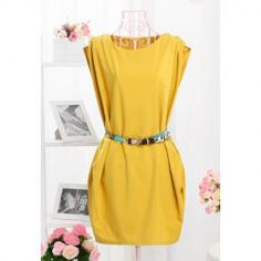 $10.09 Elegant With Belt Solid Color Chic Fastener Party Dress For Women