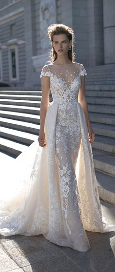 Cap Sleeves Wedding Dress by Berta Spring 2016 / http://www.deerpearlflowers.com/wedding-dresses-with-cap-sleeves/