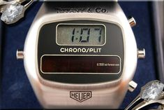heuer chronosplit tiffany LED LCD vintage watch