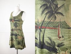 Tropical Print Babydoll Dress / 90 Grunge by BlueHorizonVintage