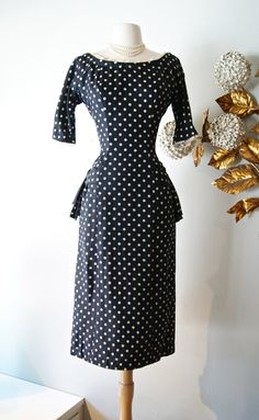 Vintage 1950s Polka Dot Dress / 50s Suzy Perette Wiggle Dress Navy With Polka Dots by xtabayvintage on Etsy