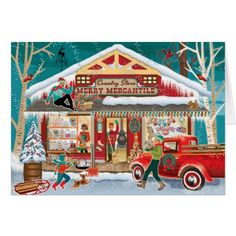 Country Store Christmas Cards - christmas cards merry xmas diy cyo greetings