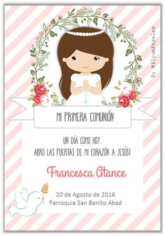 Primera comunion Under Wear underwear cartoon Communion Invitations, Ideas Para Fiestas, First Holy Communion, Printable Coloring, Christening, Wedding Cards, Party Time, Diy And Crafts, Birthday Parties