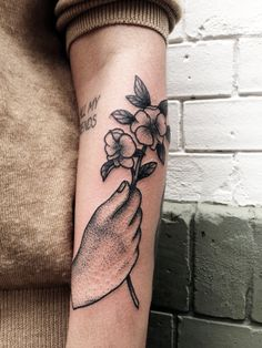 Hand & Flower Tattoo
