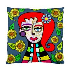 Lolita with Red Hair & Sunflowers Picasso Style Art Face Cushion Cover
