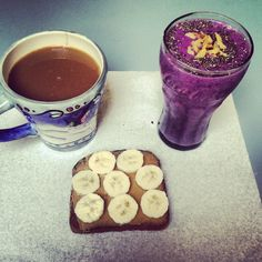 Such a delicious breakfast. A nice big cup of coffee is a must! Whole wheat toast with peanut butter and banana with a strawberry, blueberry and banana smoothie topped with chai seeds and walnuts.