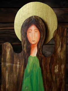 Handmade angel, green angel painted on wood, home decortion Wooden Angel, Handmade Angels, Painting On Wood, Cowboy Hats, Green, Art, Kunst, Art Education, Artworks