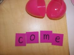 cool center/activity! different sight words mixed up in an easter egg, and kids put the words together/unscramble.