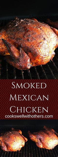 Smoked Mexican Chicken Smoker Cooking a cooking smoke Smoked Chicken Recipes, Smoked Whole Chicken, Chicken Smoker Recipes, Mexican Grilled Chicken, Grilled Shrimp, Grilled Salmon, Traeger Recipes, Grilling Recipes, Venison Recipes