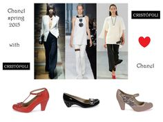 Three trousers outfits from the collection #Chanel spring 2015. You can match them with the red #cristofoli #shoes (July), the black and white dots flats (Pitty) or the snake pumps (July). Photo from www.vogue.fr