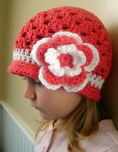 Brimmed beanie hat for girl persimon color by knits4cuties on Etsy, $15.00