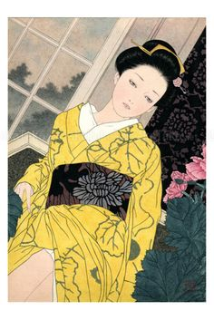 """Takato Yamamoto..Yamamoto was born in Akita prefecture (Japan) in 1960. After graduating from the painting department of the Tokyo Zokei University, he experimented with the Ukiyo-e Pop style. He further refined and developed that style to create his """"Heisei Esthiticism"""" style. His first exhibition was held in Tokyo, in 1998."""