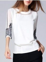 Embroidery Fancy Round Neck Blouses