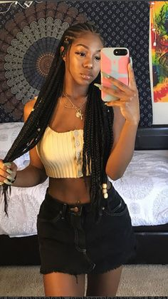 braided hairstyles for black women 2018 Braided Hairstyle Ideas for Black Women. Looking for some new ways to braid your mane? 2018 revamps tired old tresses with traditional African influences to modern braiding techniques. Black Girl Braids, Braids For Black Hair, Girls Braids, Braids For Black Women Cornrows, Braids For Black Women Box, Braids With Beads, Fulani Braids, Braids Cornrows, Cornrows With Box Braids