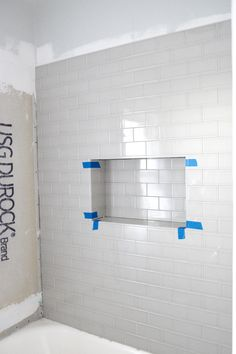 A shower niche was a must in my bathroom gut remodel. You know when you decide to gut a space, you create a must have li Shampoo Diy, Shampoo Bottles, Tile Shower Niche, Bathtub Tile, Small Showers, Shower Shelves, Steam Showers Bathroom, Shower Rooms, Bathroom Shower Remodel
