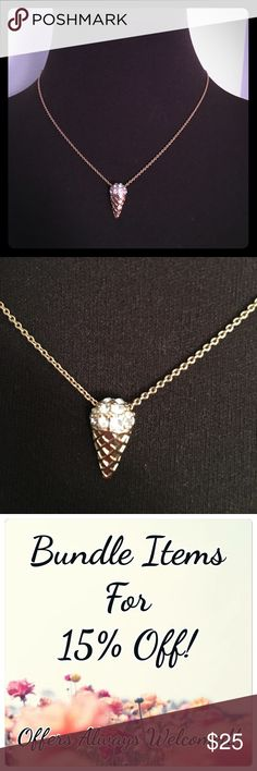"""{NEW} VINTAGE Gold Ice Cream Cone Necklace Gold ice cream cone necklace with rhinestone detail. Ice cream cone is .75"""" long. Chain is 16"""" long with a detachable 3"""" extender.  ▪REASONABLE OFFERS WELCOMED or BUNDLE FOR 15% OFF!▪️ Vintage Jewelry Necklaces"""