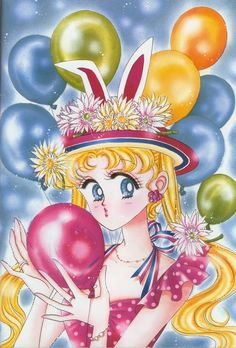 """""""Soon before the serialization began, this was the cover of the now-defunct Nakayoshi Deluxe. I wanted to draw balloons and a hat with ears."""""""