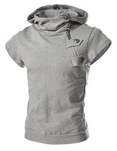 9e535e01a5a TheLees Mens casual buckle zipper slim hoodie T-shirts Gray Large(US  Medium) TheLees