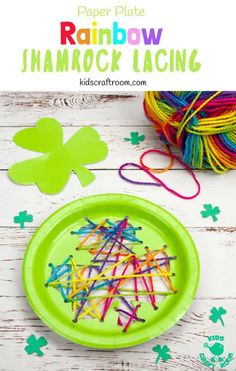 This paper plate St Patrick's Day Shamrock Lacing Craft is fun for kids to practise fine motor skills as they lace and sew a colourful rainbow shamrock leaf! An easy St Patrick's Day craft for kids. Paper plate crafts are so fun! St Patricks Day Crafts For Kids, St Patrick's Day Crafts, Crafts For Kids To Make, Kids Crafts, Yarn Crafts, Sewing Projects For Kids, Sewing For Kids, Art Projects, Paper Plate Crafts