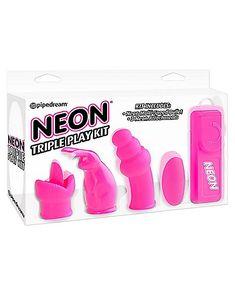 Neon Triple Play Waterproof Bullet Vibrator Kit - Pink - Spencer's