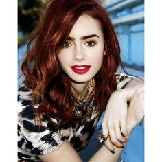 lily collins red hair