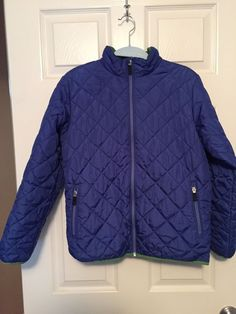 56e8b3fe36b LANDS END girls primaloft quilted Jacket Size 10 - 12 royal blue  fashion   clothing
