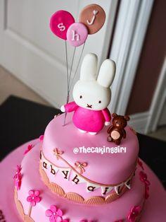 Cute Fondant Cake Designs by TheCakingGirl Fondant Cake Designs, Fondant Cake Toppers, Fondant Cakes, Cupcake Cakes, Girly Cakes, Cute Cakes, Bunny Birthday Cake, Birthday Cakes, Miffy Cake