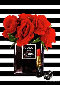 Chanel Perfume With Red Roses Greeting Card for Sale by Del Art Chanel Dekor, Thema Paris, Chanel Wallpapers, Chanel Poster, Chanel Wall Art, Fashion Wallpaper, Black And White Aesthetic, Fashion Wall Art, Rose Art