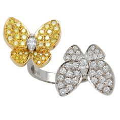 VAN CLEEF & ARPELS Diamond and Yellow Sapphire Butterfly Ring