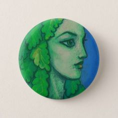 Balanis dryad green leaves forest goddess art pinback button - girl gifts special unique diy gift idea